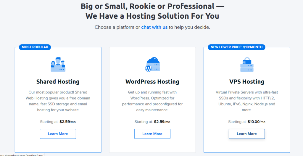 Dreamhost hosting for small business