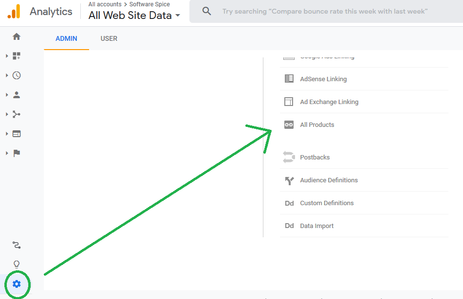 all products in google analytics