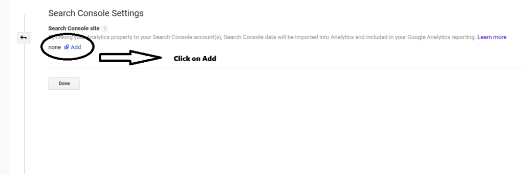 add your search console site