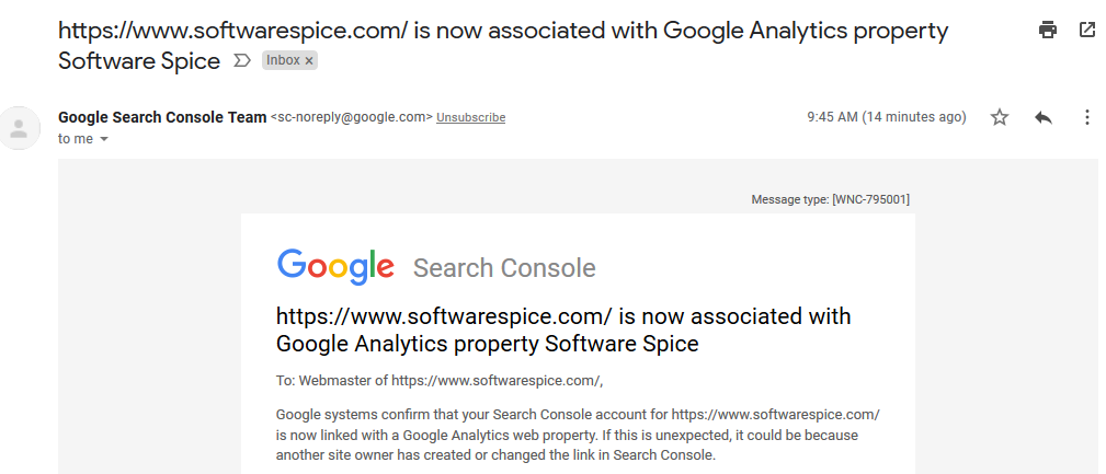 confirmation email about linking search data into analytics