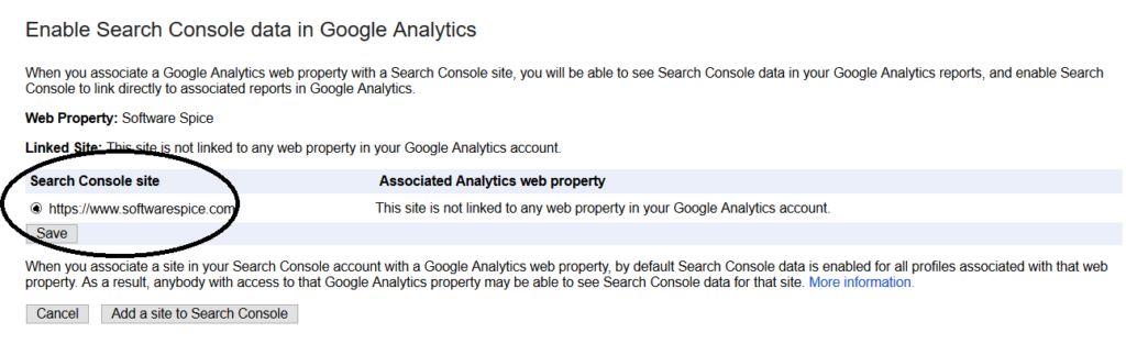 enable console search google with analytics google