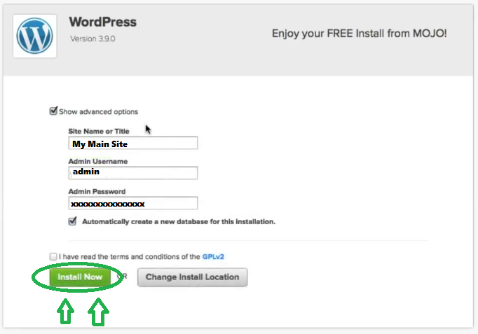 fill the advanced options in 2020 wordpress installation