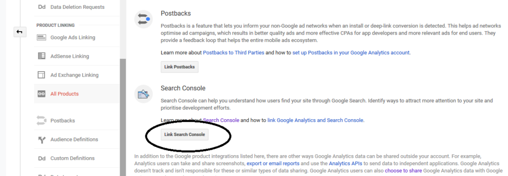 how to link search console with analytics