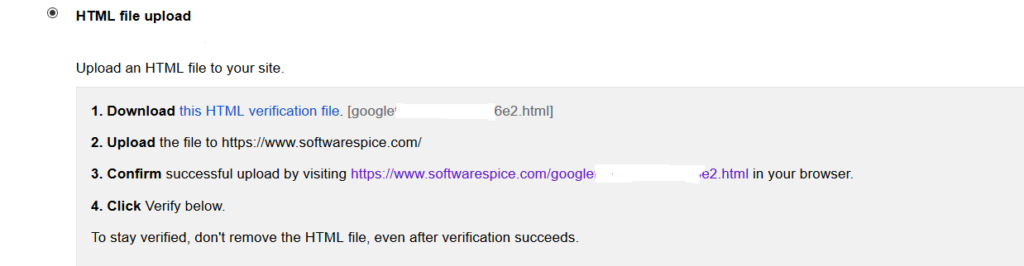html file upload in google verification webmasters