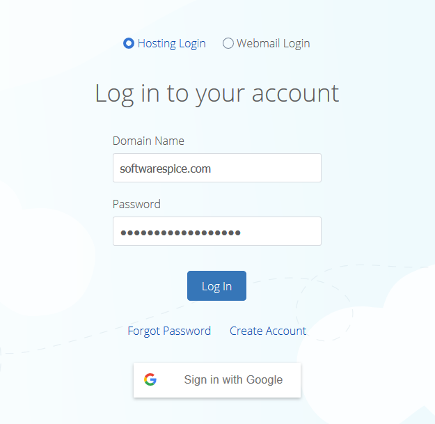 login to the bluehost control panel