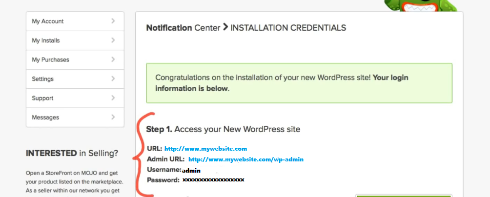 wordpress dashboard login credentials