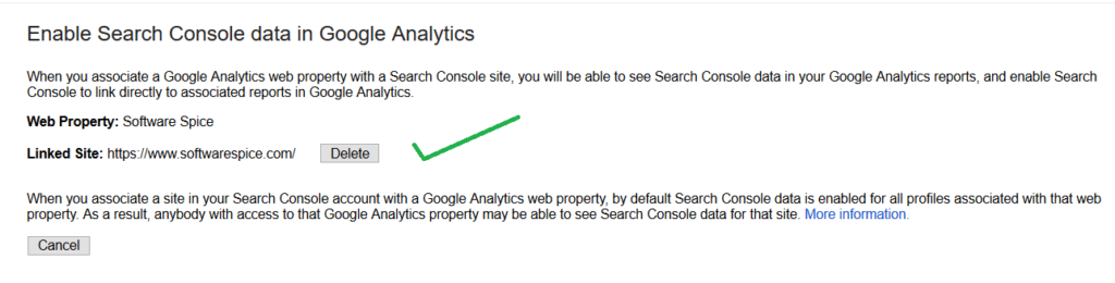 our console site is linked to analytics property