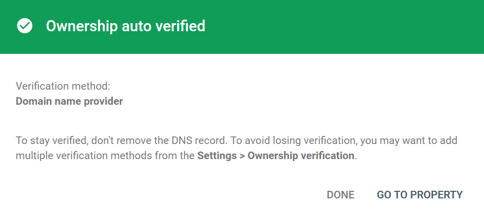 verification succeeded in google search console