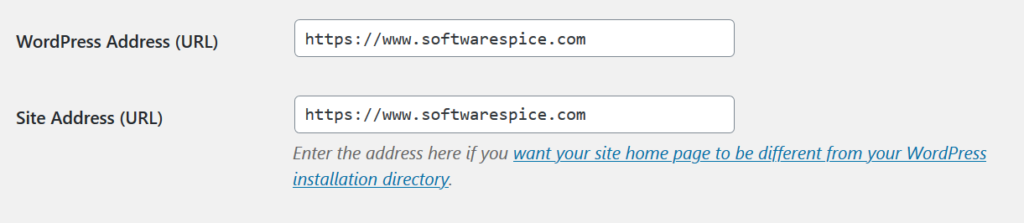 website address in general settings of wordpress