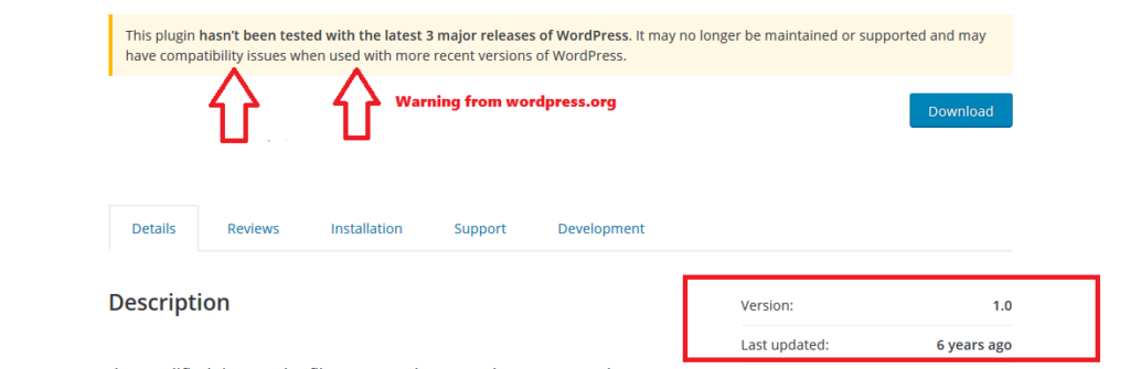 do not install outdated wordpress plugin