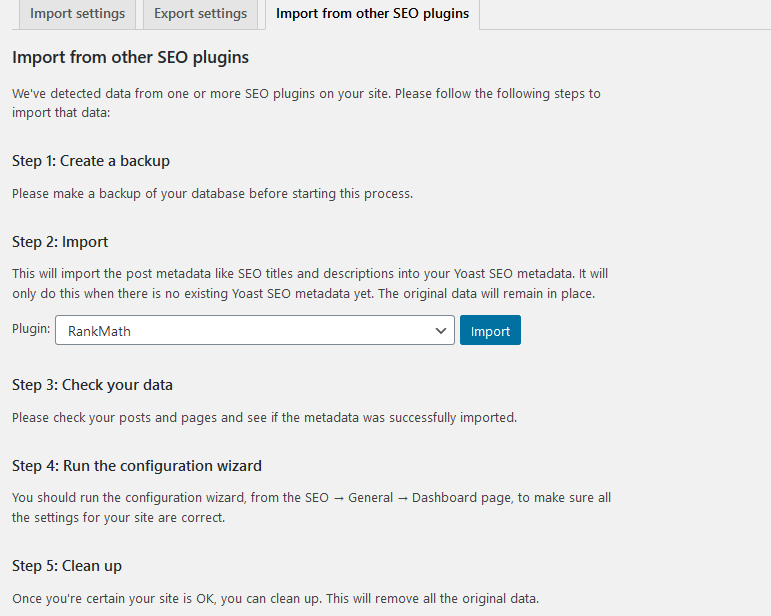 import seo settings from other wordpress plugin