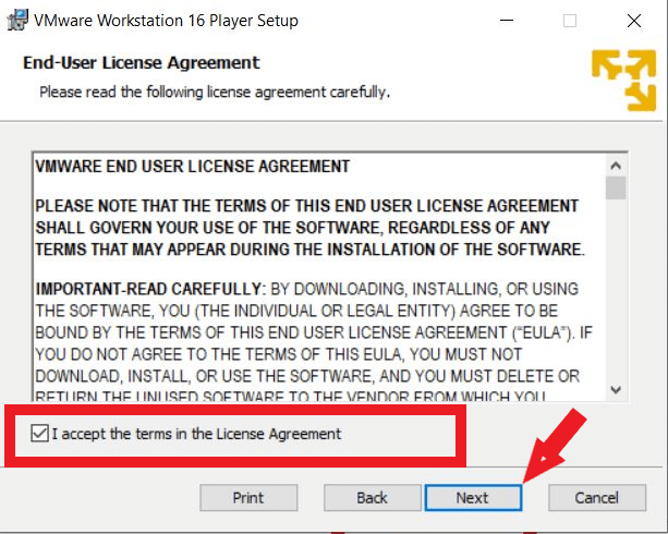 accept the terms in the license agreement