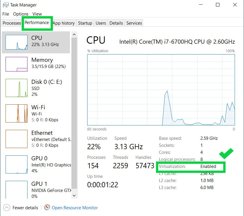 how to enable virtualization in windows 10