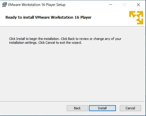 ready to install vmware workstation player