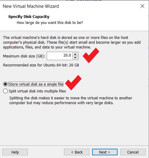 specify the disk space for vm