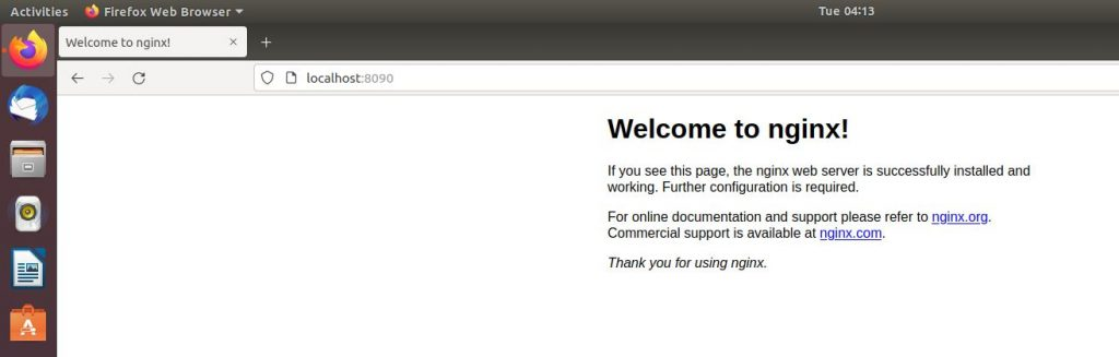 check nginx in web browser
