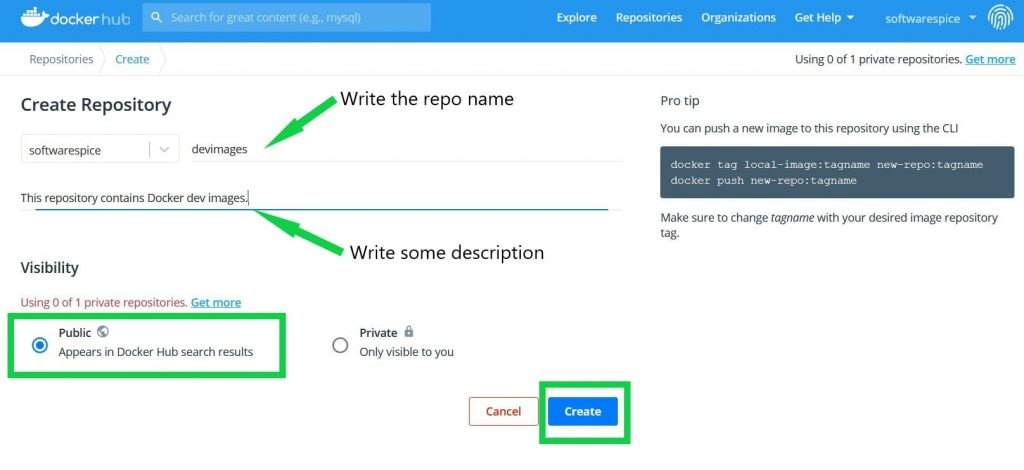 how to create a public repository in docker hub